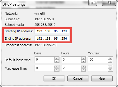 How to find out the range of IP addresses that the VMware