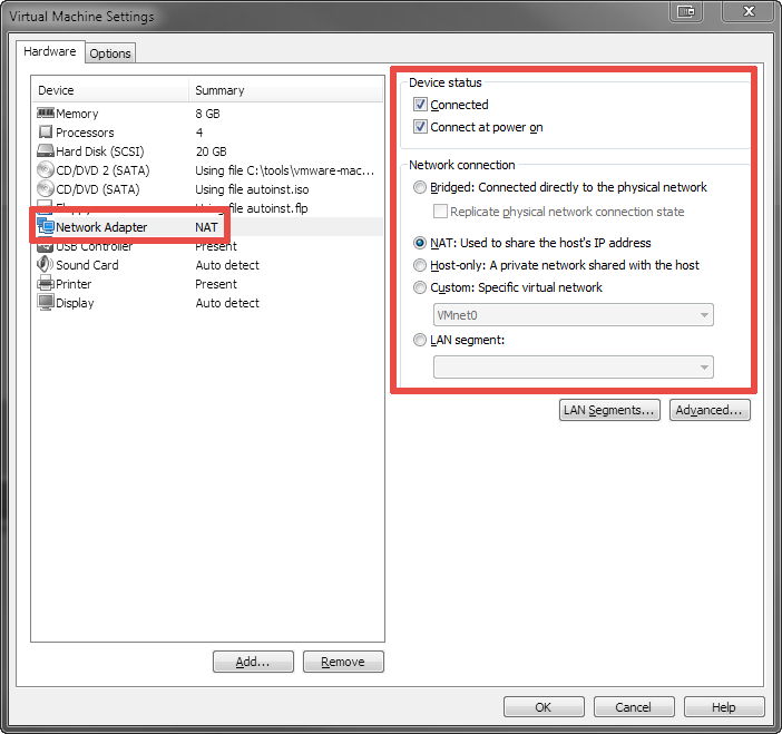My «Network Adapter» settings in VMware Workstation